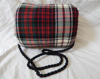 Red plaid wool woman's muff