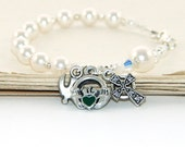 Confirmation Rosary Bracelet, made with White Swarovski® Pearls, Claddagh & Celtic Cross