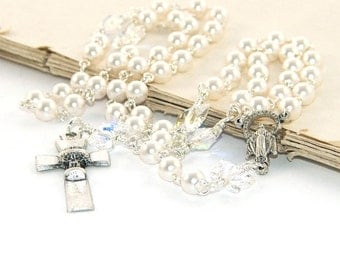 First Communion Rosary, Catholic Girl's White Rosary - Lovely Godparent Gift