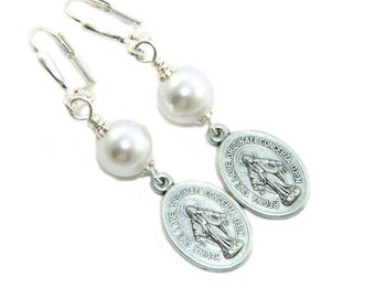 Simple Pearl Drop Earrings with Silver Miraculous Medal of Our Lady - You Choose Color - Catholic Earrings