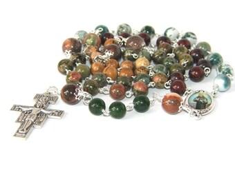 Saint Francis of Assisi Rosary, Mixed Gemstone Beads, San Damiano Cross
