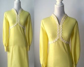 Vintage Dress, Yellow Dress, 1960s Dress, Hippie Yellow Dress, Yellow 60s Dress, Retro Daisy Dress, 1960s Daisy Dress, 60s Boho Dress