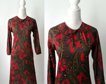 Vintage Dress, 1970s Dress, Paisley Vintage Dress, Retro 70s Dress, Retro Red Dress, 1970s Paisley Dress, Vintage 1970 Dress, 70s Red Dress