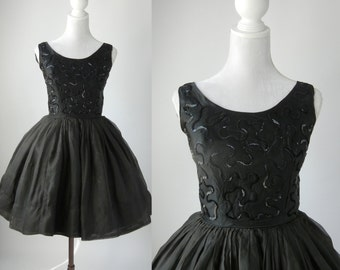 Vintage Black Dress, 1950s Black Dress, Retro 50s Dress, Vintage Black Cocktail Dress, Full Skirt Dress, Vintage Chiffon Dress, Sequinned