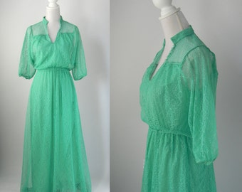 Vintage 1930s Style Green Lace Gown Maxi Dress, Medium Size