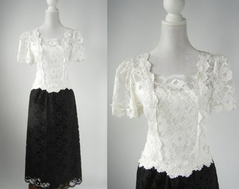 Vintage Dress, 1980s Dress, Black & White Dress, Retro Lace Dress, Vintage Lace Dress, Lace Formal Dress, 1980s Lace Dress, 80s Lace Dress
