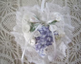 Lavender and White Shabby Heart