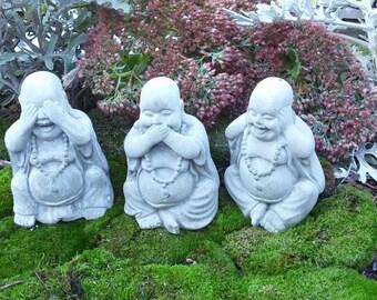 """Concrete BUDDHAS: """"See No Evil"""" Set of three"""