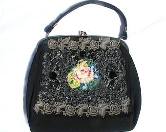 Vintage 50s Beaded Handbag, Embellished Black Purse