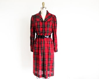 1970 Red Plaid Dress, Long Sleeve Cotton Blend, Union Made in the USA