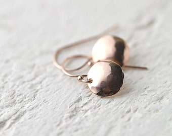 Hammered Rose Gold Earrings - Rose Gold Fill Jewelry - Friend Gift - Round Disc Earrings -  Jewellery by Burnish