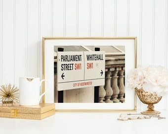 London Street Sign. White Hall Parliament Street. Downing Street. Home Décor. Fine Art Photography. White Grey Red. London Photography