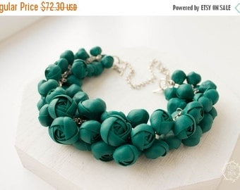 Christmas SALE Green Bib Necklace Flower Floral Women Polymer Clay Chunky Statement Necklace Birthday Wedding Bridal Christmas Xmas Gifts