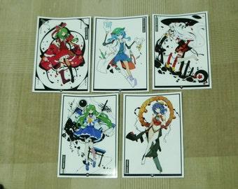 Touhou Project Art Sticker 5Pcs. Nitori, Momichi, Sanae, Kanako, Free shipping