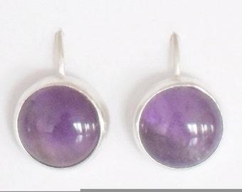 Amethyst Earrings (real amethyst stones 10mm in sterling silver)
