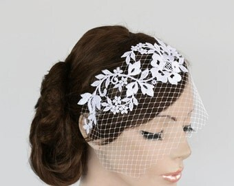 Bridal Birdcage Veil Blusher, Floral Bandeau Headpiece, Wedding Floral Headdress French Venetian Applique Lace Romantic Wedding