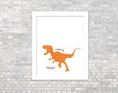 Dinosaur Poster Rawrrr Means I Love You in Dinosaur- Orange T-Rex with Red Heart Digital Art Print