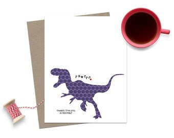 Dinosaur Greeting Card Rawrrr Means I Love You in Dinosaur- Purple Hegagon Geometric T-Rex with Red Heart Valentines Day