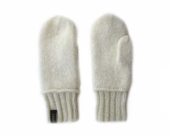 Hand-knitted and felted mittens for women