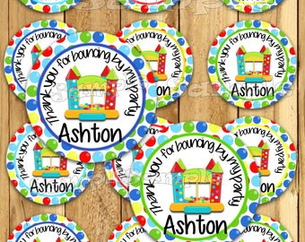 Bounce house Thank you tags Bounce house stickers Boy jump Party favor tags Custom Gift tags Cupcake toppers  Birthday Party tags PRECUT