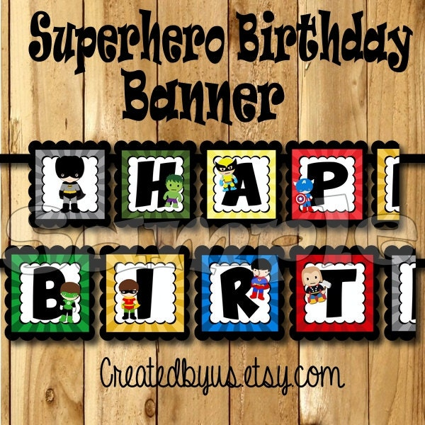 Superhero Birthday Banner Super Hero Party Banner Hero
