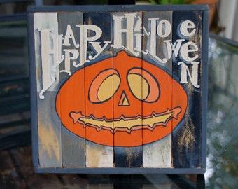 Halloween Handpainted Distressed Pumpkin Sign