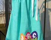 Let the Easter egg hunt begin, girl, toddler, tween, tuquoise blue fabric pillowcase dress with personalized initial eggs applique baby - 12