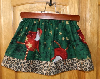 Festive Vintage Christmas silly Santa skirt with green, red and gold stars and leopard cheetah skirt sizes NB - 16