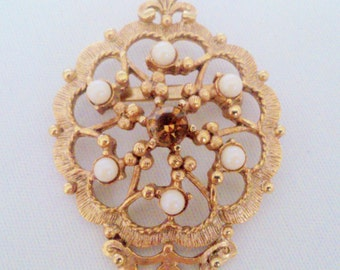 Vintage Amber Rhinestone and Faux Pearl Medallion Brooch