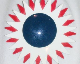 Vintage Red White and Blue Enamel Flower Brooch