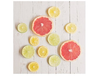 Citrus print, kitchen wall decor, food photography, rustic wall art, country home decor, lemon, lime, grapefruit, farmhouse kitchen decor