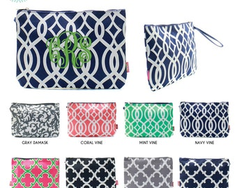 Monogram Large Zipper Cosmetic Pouch/pencil case/diaper bag pouch