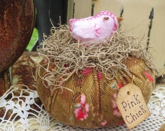 PIN CUSHION PINK Pin Poke Pin Keep up cycled handmade lil chicken Easter Spring