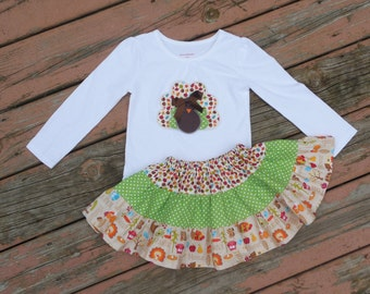 Girl's Toddlers Thanksgiving Skirt and Shirt Outfit -  Tiered Happy Harvest Skirt with Turkey Applique Shirt