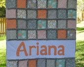Rag Quilt Crib or Toddler Size, PERSONALIZED with Name Applique, You pick fabric colors/theme, CUSTOM Crib Bedding
