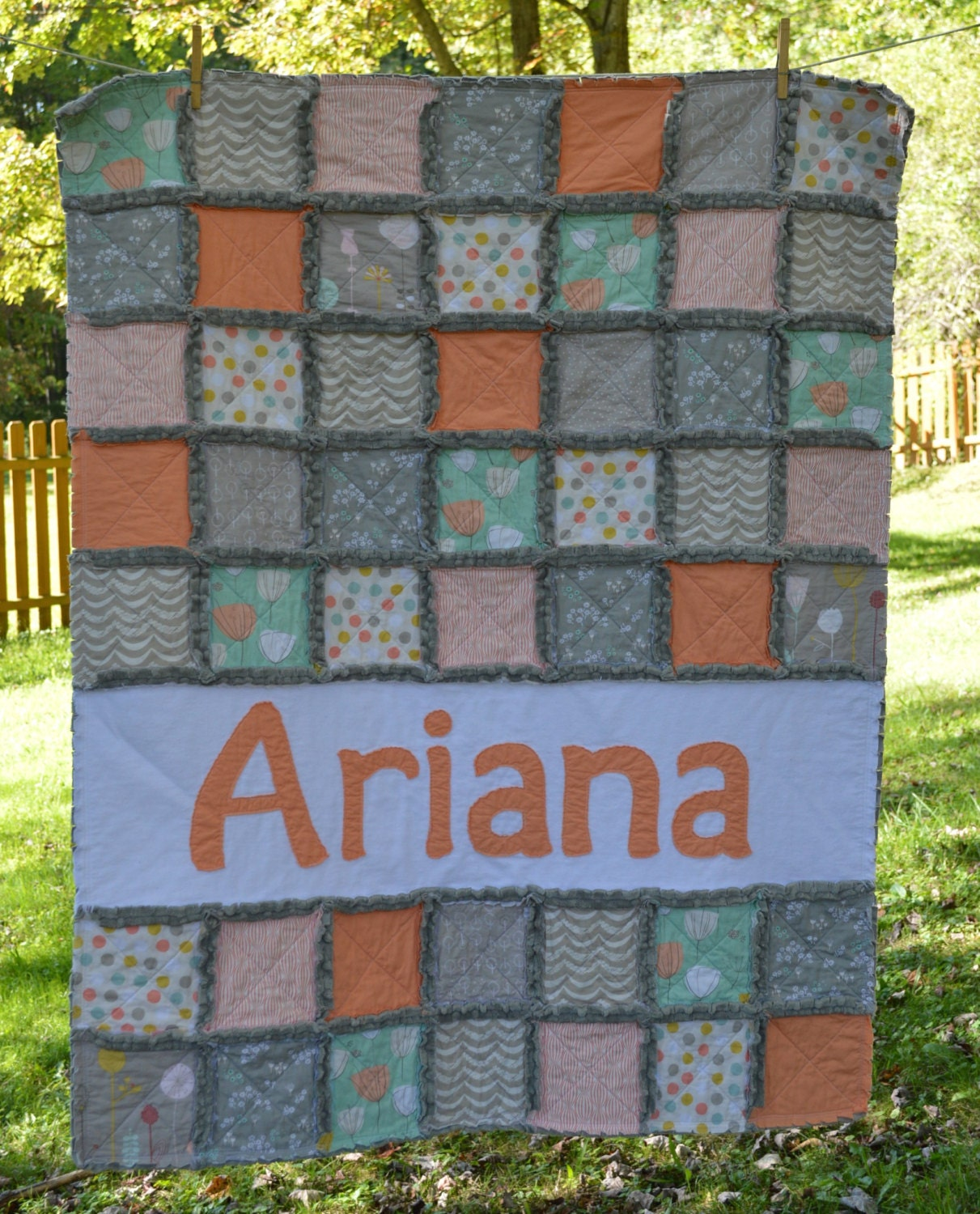 Crib Quilt Size: Rag Quilt Crib Or Toddler Size PERSONALIZED With By