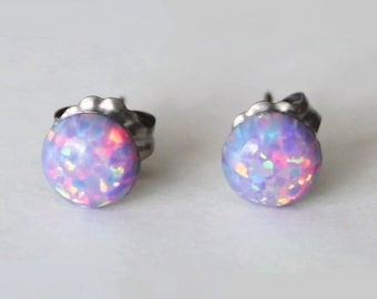 8mm Lavender Opal stud earrings, opal earrings, hypoallergenic Titanium earrings, Purple opal studs, Lavender studs, October birthstone