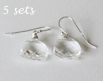5 pairs bridesmaids crystal earring, Clear Swarovski crystal drop earrings, set of 5 earring,Sterling Silver, Bridesmaid earrings, Crystal