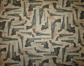 Remington Pistols Guns Cream Tan Brown Cotton Fabric Fat Quarter or Custom Listing