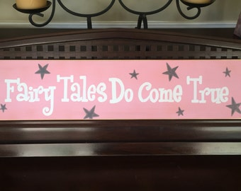 Fairy Tales Do Come True Princess Girly Room Wall Plaque Decor Art Glitter Wooden You Pick Color Hand Painted