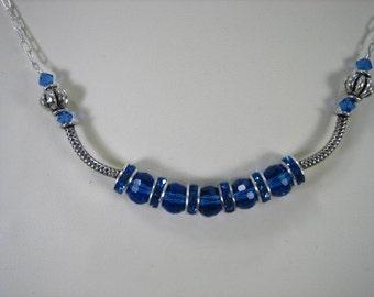 Blue Crystal Crescent Necklace