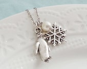 Winter Necklace. Snowflake Necklace. Penguin Necklace. Winter Jewelry. Christmas Gift Under 25. Stocking Stuffer