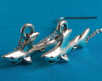 Silver Shark Earrings. Silver Earrings. Long Shark Earrings. Fish Earrings. Shark Dangly Earrings