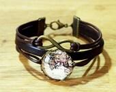 Eternity Infinity & Vintage World Map Leather bracelet brown bronzecolored - eternal friendship semester abroad best friend sister jewelry