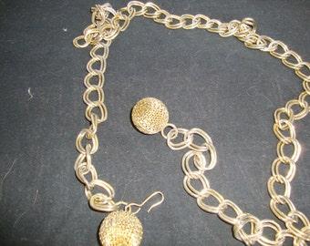 Vintage Metal Belt, 36 Inch Gold Tone  Belt