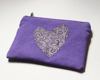 Purple Paisley Heart Clutch