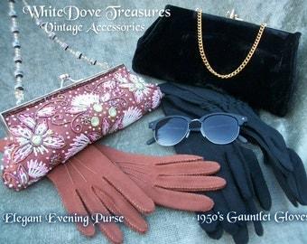 Vintage 1950 Beaded Brown Clutch Purse - Long Black Glamour Gauntlet Gloves & Ruched - Black Velvet Evening Bag Elegant Formal Party Fashion