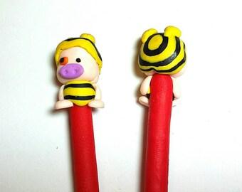 New 2 Handmade Polymer Clay Fimo Pen Cartoon Face pig Free Shipping