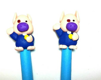 New 2 Handmade Polymer Clay Fimo Pen Cartoon Pig