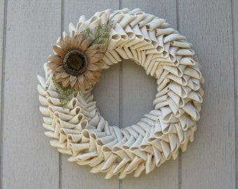 Fall Sophisticated Ivory Burlap Petal Shape Wreath with burlap sunflower three sizes available